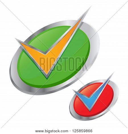 Vector stock of silver check mark in a circle 3D icon
