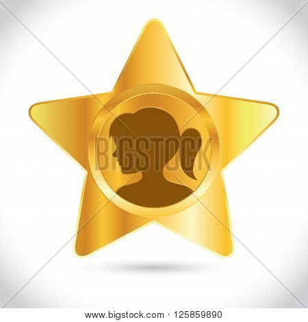 Vector stock of golden star icon with girl silhouette