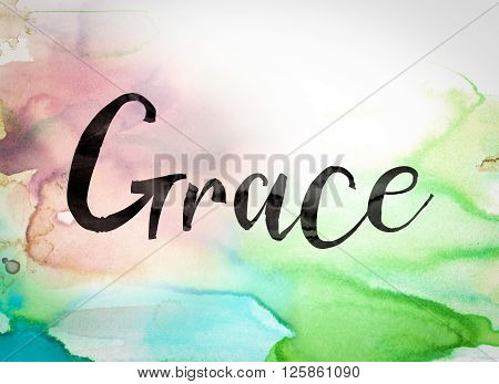 "The word ""Grace"" written in black paint on a colorful watercolor washed background. poster"