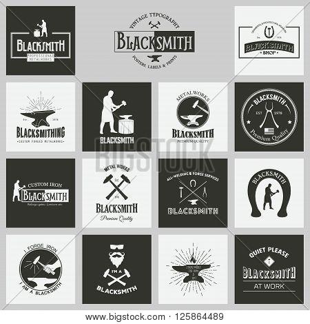 Blacksmith. Set of vintage typography posters, labels and prints. Vintage typography background, vintage typography design, vintage typography art, vintage typography label, vintage typography icon, vintage typography print for t-shirt, retro typography,