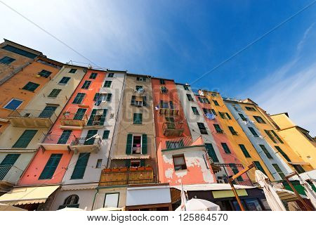 The tower houses in Portovenere or Porto Venere (UNESCO world heritage site). La Spezia Liguria Italy