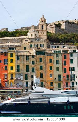 The tower houses in Portovenere or Porto Venere (UNESCO world heritage site). La Spezia Liguria Italy
