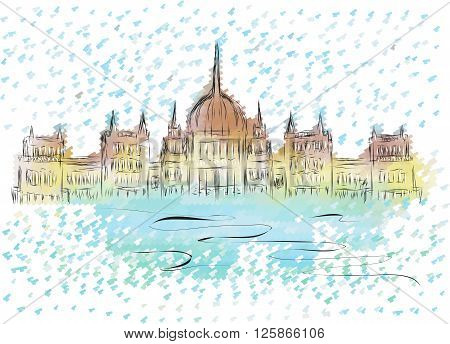 budapest parliament. abstract sketch of building on multicolor background