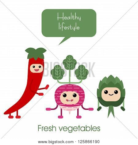 Collection of cartoon Cute smiling vegetables - radish artichoke hot peppers. Healthy style collection.