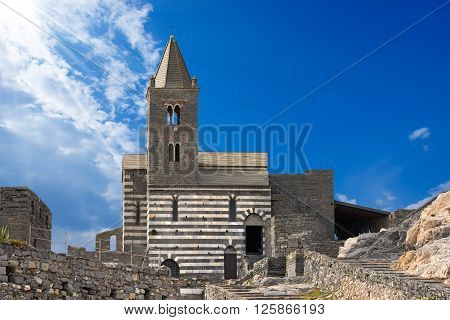 The ancient church of San Pietro (consecrated in 1198) in Portovenere or Porto Venere (UNESCO world heritage site) - La Spezia Liguria Italy