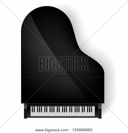 Top view of black grand piano on white background