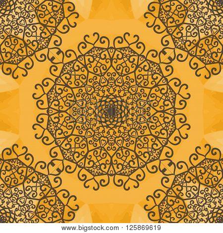 Mandala Indian Yoga Ornament, kaleidoscopic floral pattern, yantra. Seamless ornament lace.Oriental vector pattern. Islamic, Arabic, Indian, Turkish, Pakistan, Chinese, Asian, Moroccan, Ottoman motifs. poster