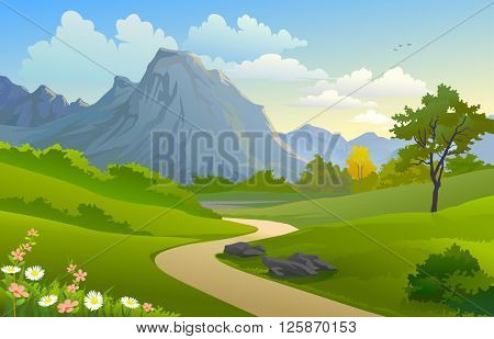 SCENIC OUTDOORS  'MOUNTAIN AND HILLY PATHWAY'