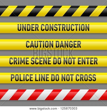 Set of different danger tapes. Tapes with text Under construction Caution Danger Crime scene do not enter Police line do not cross
