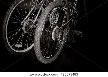 Rear Wheels Of Two Bicycles
