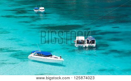 Beautiful sea landscape and the high-speed boat