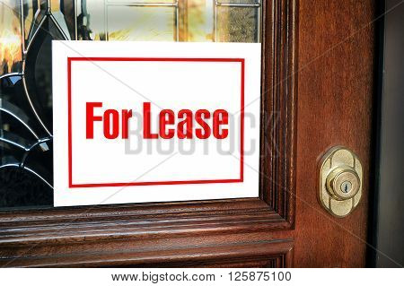 For lease sign on the front door .