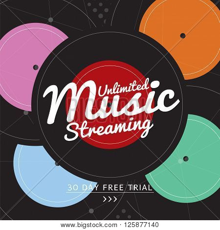 Unlimited Music Streaming Vector Illustration. EPS 10