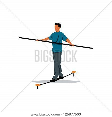 Rope walker man on a white background