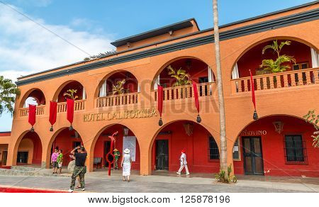 Todos Santos, Mexico- March 23/2016 :Tourists visit Hotel California in Todos Santos on the Mexican Baja. The Hotel is reputed to be the inspiration for the eagles hit song Hotel California.