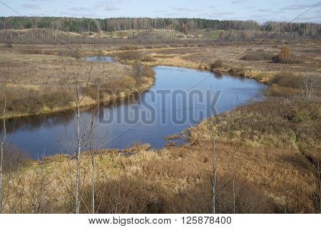View of the bend of the river Sorot sunny october day. Pushkin mountains, Pskov region, Russia poster