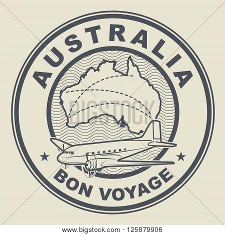 Air mail or travel stamp Australia theme, vector illustration