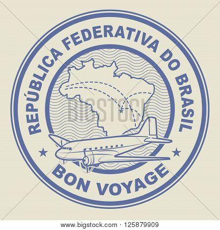 Air mail or travel stamp Brazil theme, vector illustration