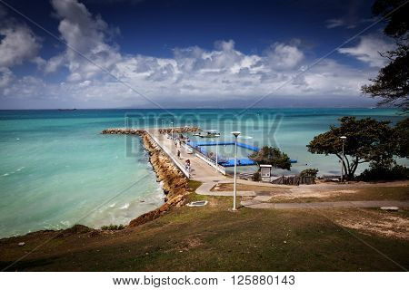 Caribbean beach and pier - Guadeloupe, Lesser Antilles