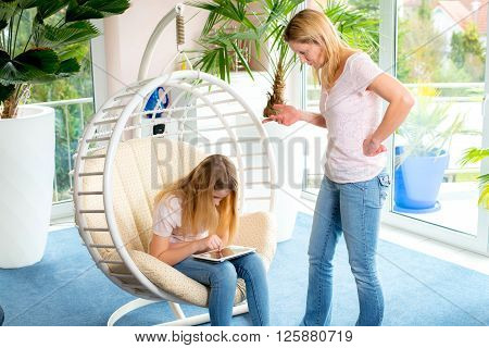 Girl Using Too Much Her Tablet Computer