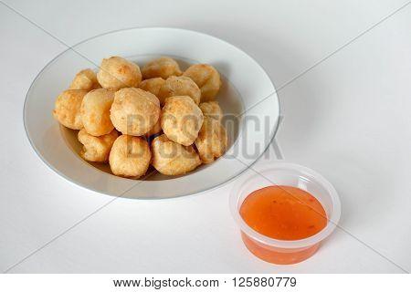 Thai food deep fried shrimp balls on a white background