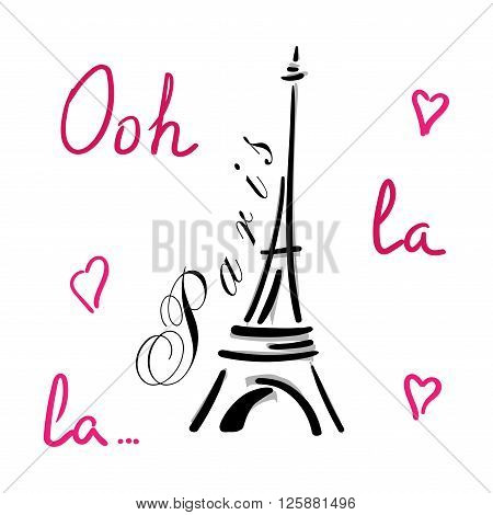 Eiffel Tower with hearts hand drawn. Decorative sketch silhouette. Typography background. France travel holiday concept. French graphic design for apparel card poster t shirt. Vector illustration.