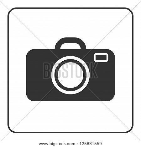 Photo camera icon. Black modern sign isolated on white background. Symbol image equipment photographic picture photographer photographing. Graphic pictogram. Simple flat design Vector illustration