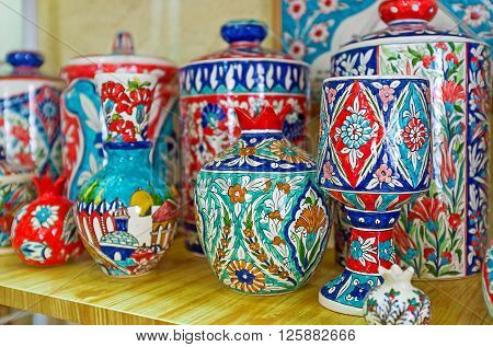 JERUSALEM ISRAEL - FEBRUARY 16 2016: The colorful pottery in traditional armenian style in the souvenir shop of Armenian Quarter of the old city on February 16 in Jerusalem.
