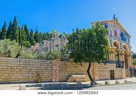 The Gethsemane Garden is adjacent to the All Nations Church Jerusalem Israel. ** Note: Visible grain at 100%, best at smaller sizes