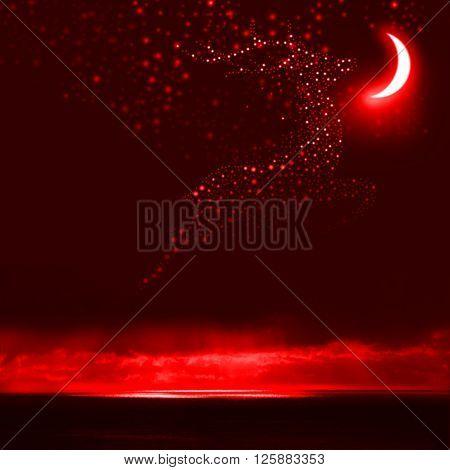 Night Sky Reindeer Bright Stars Galaxy and Moon