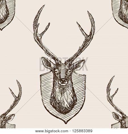 Deer head trophy sketch style seamless pattern vector illustration. Deer head trophy old hand drawn engraving imitation. Vintage object illustration