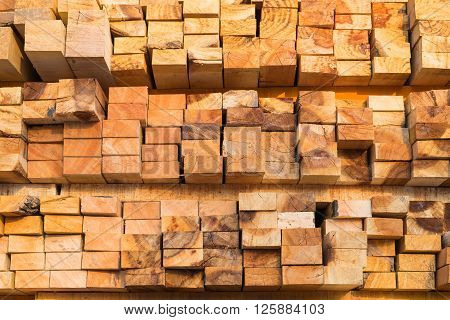 Stack of pile wood. wooden pattern background