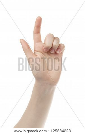 young woman hand touch screen gesture towards camera, isolated on white background