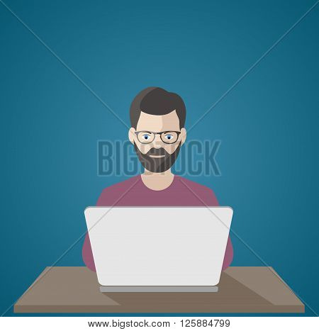 On the image is presented man at the computer .frilanser at work illustration