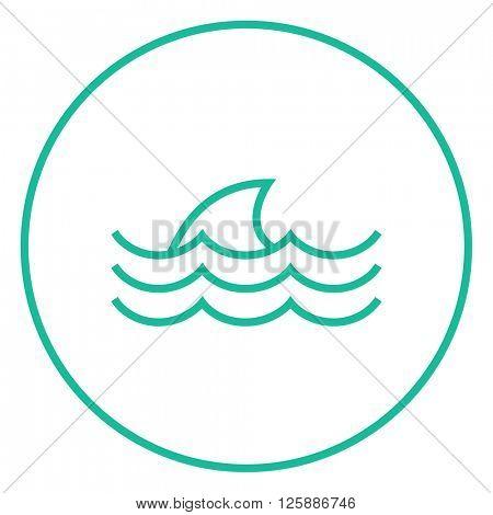 Dorsal shark fin above water line icon.