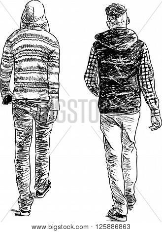 Vector drawing of the teenagers on a walk.