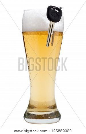 a half pint and keys isolated on white background