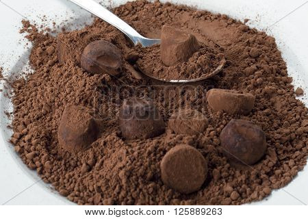 image of a plate of chocolate cake powder