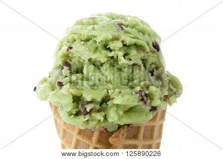 avocado ice cream isolated on white background