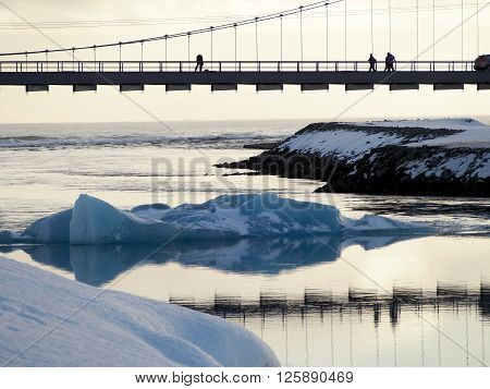 Bridge under the icy lagune in the evening ** Note: Soft Focus at 100%, best at smaller sizes