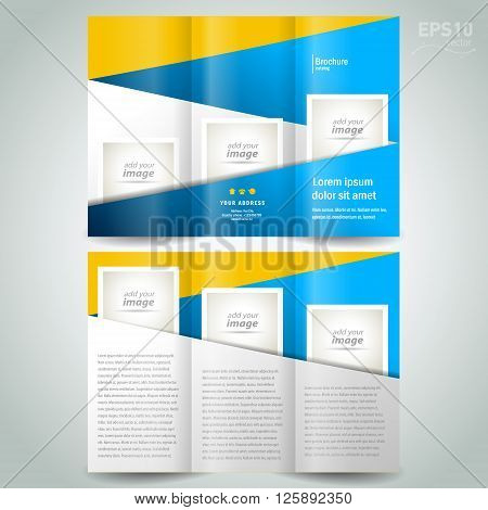 brochure design template geometric abstract element color yellow blue block for images