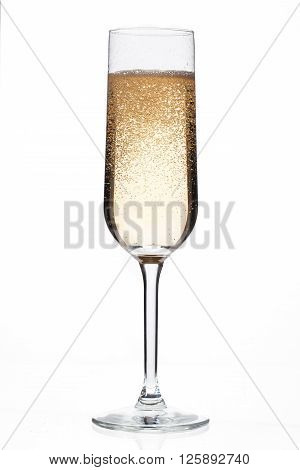 champagne flute full of champagne isolated on a white background