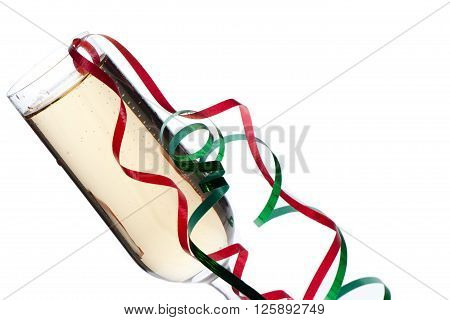 champagne glass with streamers isolated on a white background