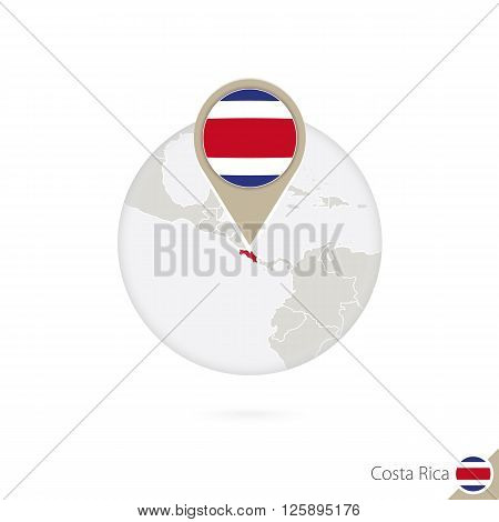 Costa Rica Map And Flag In Circle. Map Of Costa Rica, Costa Rica Flag Pin. Map Of Costa Rica In The