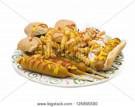 cornucopia of food isolated on a white background