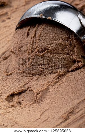 Creamy Chocolate Ice Cream With A Scooper