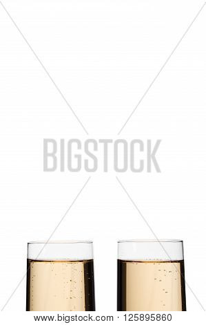 Cropped Image Of Champagne Glass Beside Each Other Over Plain White Background