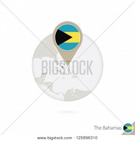 The Bahamas Map And Flag In Circle. Map Of Bahamas, Bahamas Flag Pin. Map Of Bahamas In The Style Of