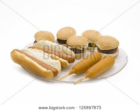 finger food platter isolated on a white background