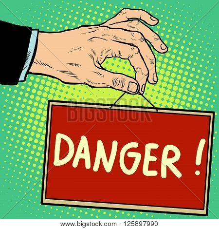 Hand sign danger pop art retro style. Lettering plate name text input.
